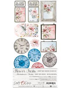 Set papirjev za rezanje - FLOWER FIESTA - JUNK JOURNAL SET - 15,5 x 30,5 cm - 190g in 250g - 6 listov