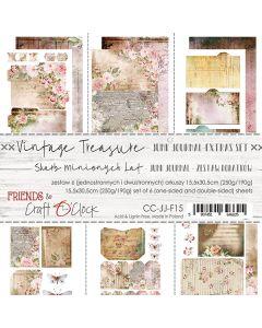 Set papirjev za rezanje - VINTAGE TREASURE - JUNK JOURNAL SET - 15,5 x 30,5 cm - 190g in 250g - 6 listov
