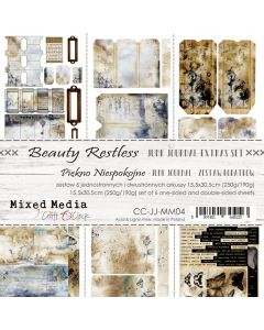 Set papirjev za rezanje - BEAUTY RESTLESS - JUNK JOURNAL SET - 15,5 x 30,5 cm - 190g in 250g - 6 listov