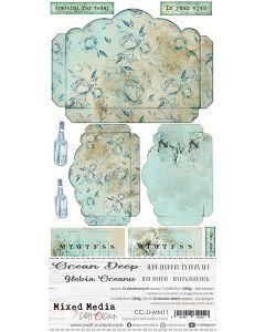 Set papirjev za rezanje - OCEAN DEEP - JUNK JOURNAL SET - 15,5 x 30,5 cm - 250g - 12 listov