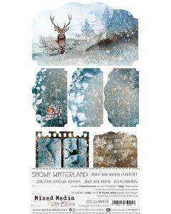 Set papirjev za rezanje - SNOWY WINTERLAND - JUNK JOURNAL SET - 15,5 x 30,5 cm - 250g - 12 listov