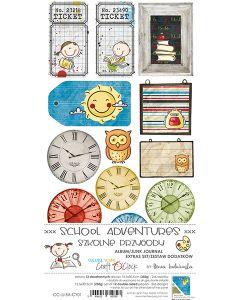 Set papirjev za rezanje - SCHOOL ADVENTURES - JUNK JOURNAL SET - 15,5 x 30,5 cm - 250g - 12 listov