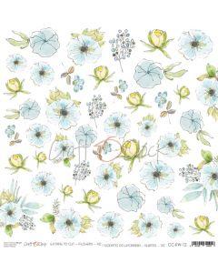 Papir za rezanje - FLOWERS XII - 30,5 x 30,5 cm - 250g
