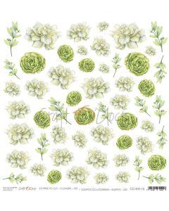 Papir za rezanje - FLOWERS XIII - 30,5 x 30,5 cm - 250g
