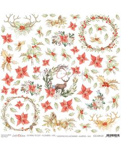 Papir za rezanje - FLOWERS 21 - 30,5 x 30,5 cm - 250g
