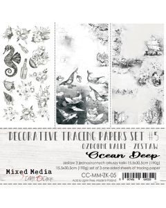 Set - enostranski tracing papir - MM - decorative tracing paper set 05 - ocean deep - 15,5x30,5cm - 190g - 3 listi