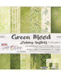 Set dvostranskih papirjev - GREEN MOOD - 30,5 x 30,5 cm - 250g - 6 listov