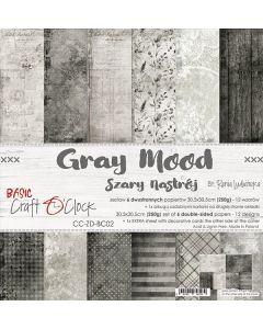 Set dvostranskih papirjev - GRAY MOOD - 30,5 x 30,5 cm - 250g - 6 listov