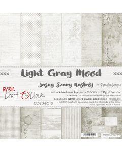 Set dvostranskih papirjev - LIGHT GRAY MOOD - 30,5 x 30,5 cm - 250g - 6 listov