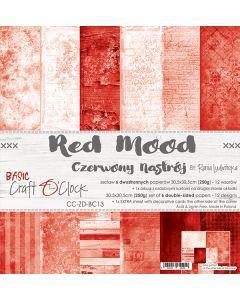 Set dvostranskih papirjev - RED MOOD - 30,5 x 30,5 cm - 250g - 6 listov