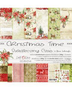 Set dvostranskih papirjev - CHRISTMAS TIME - 30,5 x 30,5 cm - 250g - 6 listov