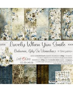 Set dvostranskih papirjev - LOVELY WHEN YOU SMILE - 30,5 x 30,5 cm - 250g - 6 listov