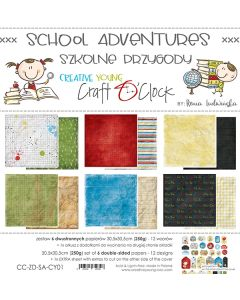 Set dvostranskih papirjev - SCHOOL ADVENTURES - 30,5 x 30,5 cm - 250g - 6 listov