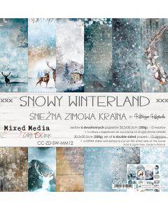 Set dvostranskih papirjev - SNOWY WINTERLAND - 30,5 x 30,5 cm - 250g - 6 listov