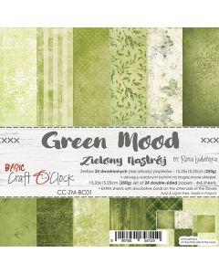 Set dvostranskih papirjev - GREEN MOOD - 15,25 x 15,25cm - 250g - 18 listov