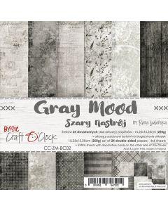 Set dvostranskih papirjev - GRAY MOOD - 15,25 x 15,25cm - 250g - 18 listov