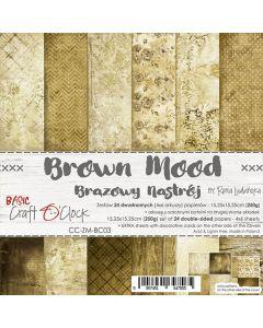 Set dvostranskih papirjev - BROWN MOOD - 15,25 x 15,25cm - 250g - 18 listov