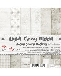 Set dvostranskih papirjev - LIGHT GRAY MOOD - 15,25 x 15,25cm - 250g - 18 listov
