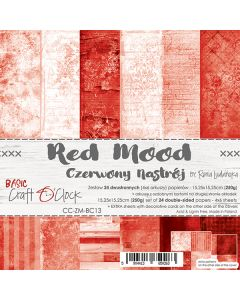 Set dvostranskih papirjev - RED MOOD - 15,25 x 15,25cm - 250g - 18 listov