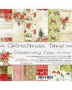 Set dvostranskih papirjev - CHRISTMAS TIME - 15,25 x 15,25cm - 250g - 24 listov