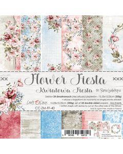 Set dvostranskih papirjev - FLOWER FIESTA - 15,25 x 15,25cm - 250g - 18 listov