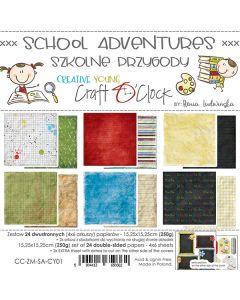 Set dvostranskih papirjev - SCHOOL ADVENTURES - 15,25 x 15,25cm - 250g - 24 listov