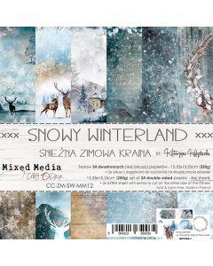 Set dvostranskih papirjev - SNOWY WINTERLAND - 15,25 x 15,25cm - 250g - 24 listov