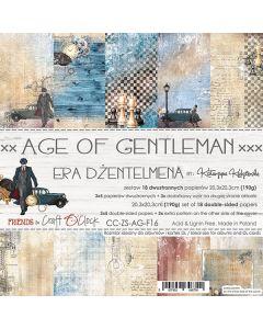 Set dvostranskih papirjev - AGE OF GENTLEMAN  - 20,3 x 20,3 cm - 190g - 18 listov