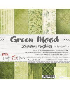 Set dvostranskih papirjev - GREEN MOOD - 20,3 x 20,3 cm - 190g - 18 listov