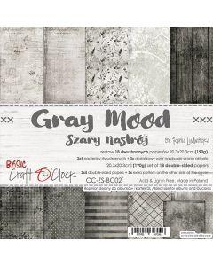Set dvostranskih papirjev - GRAY MOOD - 20,3 x 20,3 cm - 190g - 18 listov