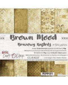 Set dvostranskih papirjev - BROWN MOOD - 20,3 x 20,3 cm - 190g - 18 listov