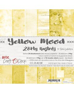 Set dvostranskih papirjev - YELLOW MOOD - 20,3 x 20,3 cm - 190g - 18 listov