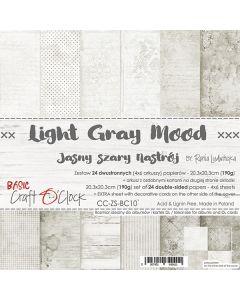 Set dvostranskih papirjev - LIGHT GRAY MOOD - 20,3 x 20,3 cm - 190g - 18 listov