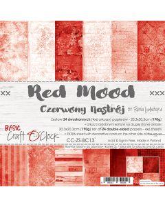 Set dvostranskih papirjev - RED MOOD - 20,3 x 20,3 cm - 190g - 18 listov
