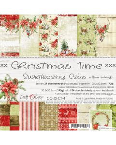 Set dvostranskih papirjev - CHRISTMAS TIME - 20,3 x 20,3 cm - 190g - 24 listov