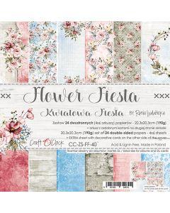 Set dvostranskih papirjev - FLOWER FIESTA - 20,3 x 20,3 cm - 190g - 18 listov