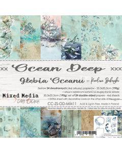 Set dvostranskih papirjev - OCEAN DEEP - 20,3 x 20,3 cm - 190g - 24 listov