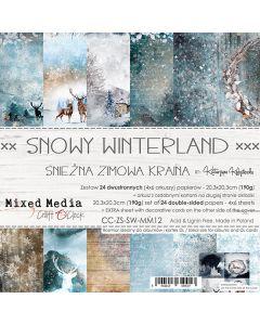 Set dvostranskih papirjev - SNOWY WINTERLAND - 20,3 x 20,3 cm - 190g - 24 listov