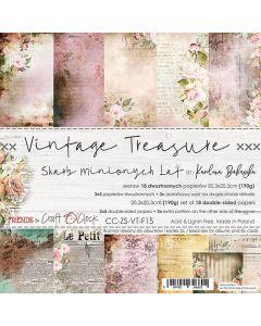 Set dvostranskih papirjev - VINTAGE TREASURE - 20,3 x 20,3 cm - 190g - 18 listov