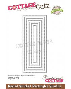 Rezalna šablona CottageCutz Nested Stitched Rectangles Slimline