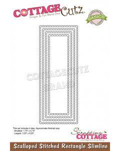 Rezalna šablona CottageCutz Scalloped Stitched Rectangle Slimline