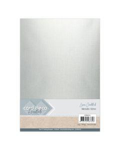 Metalik karton z laneno strukturo Card Deco - A4 - Metallic Silver - 250g - 6 listov