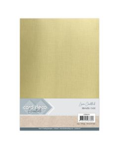 Metalik karton z laneno strukturo Card Deco - A4 - Metallic Gold - 250g - 6 listov