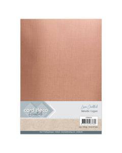 Metalik karton z laneno strukturo Card Deco - A4 - Metallic Copper - 250g - 6 listov