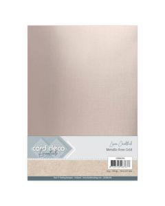 Metalik karton z laneno strukturo Card Deco - A4 - Metallic Rose Gold - 250g - 6 listov
