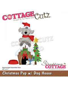 Rezalna šablona CottageCutz Christmas Pup w/Dog House