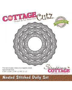 Rezalna šablona CottageCutz Nested Stitched Doily Set