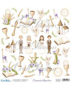 Papir za rezanje - Communion memories - 30,5x30,5cm - 250g - Craft Passion
