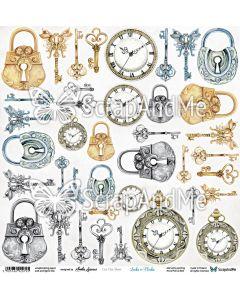 Papir za rezanje - Locks & Clocks - 30,5x30,5cm - 250g