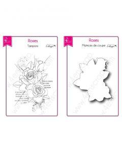 Rezalna šablona in štampiljka 4enscrap - Roses (vrtnica) - 7,2x6,5cm